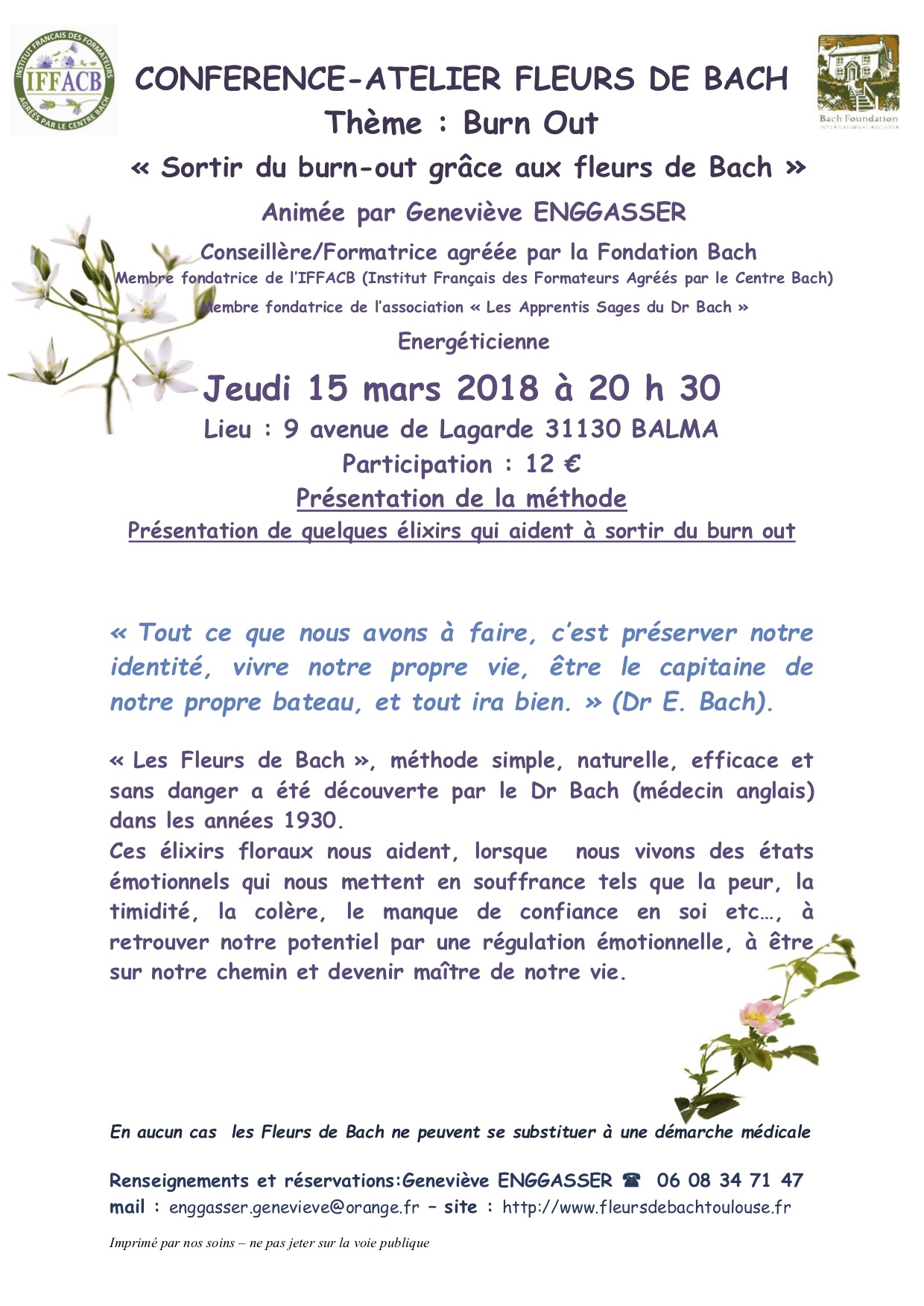 Conférence les fleurs de Bach : Le Burn Out